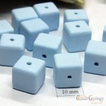 Kék porcelán kocka - 1 db - mérete: 10x10x10 mm, furat: 1 mm