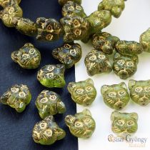 Olivine Cat - 1 pcs. - 13x12 mm Glass bead