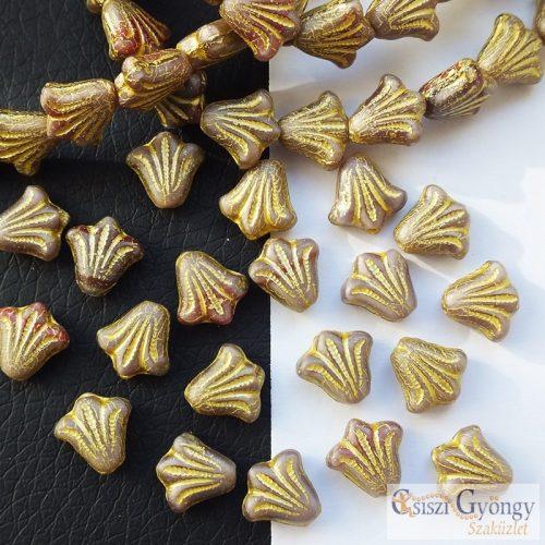 Beige Lily - 1 pcs. - 9x8 mm glass bead