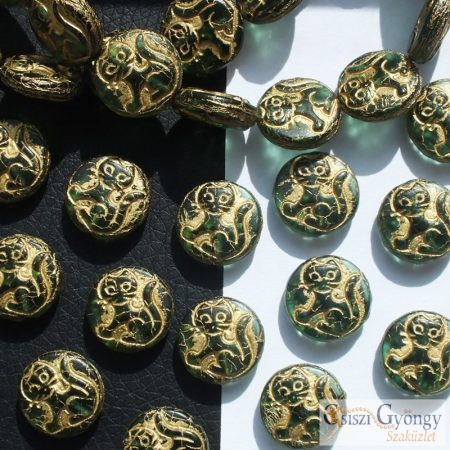 Emerald Zöld Cica Korong - 1 db - 14 mm, furattal