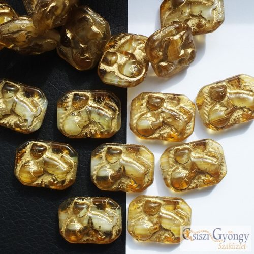 Topaz Cat - 1 pcs. - 22x16 mm glass bead