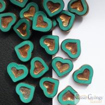 Turquoise/Bronze Heart - 1 pcs. - 14x12 mm glass bead
