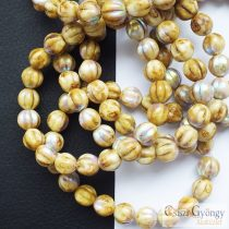 Beige Picasso AB - 1 pcs. - Melon Glass Bead