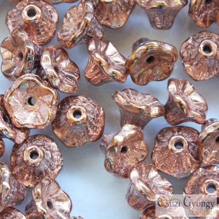 Capri Gold - 30 db - Flower Cup virág alakú üveggyöngy, mérete: 7x5 mm (27100)