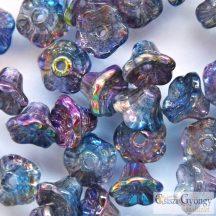 Magic Blue - 30 db - Flower Cup, virág alakú üveggyöngy, mérete: 7x5 mm (95100)