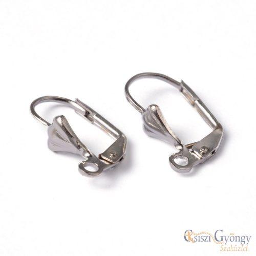 Mintás kapcsos fülbevaló alap - 10 db (5 pár) - sötétebb ezüst színű, 18x10mm