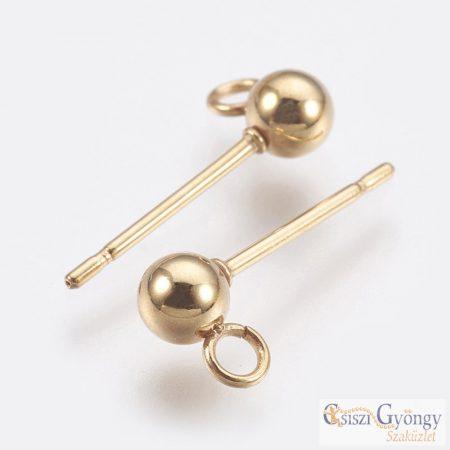 304 Rozsdamentes acél fülbevaló alap - 1 pár (2 db) - arany színű, 15 mm, gömb: 3 mm