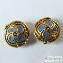 Handmade Indonesia Beads - 1 pcs - color: blue/gold, size: 14x8mm, hole: 1.5mm