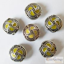 Handmade Indonesia Beads - 1 pcs - color:silver/yellow, size: 14x8mm, hole: 1.5mm