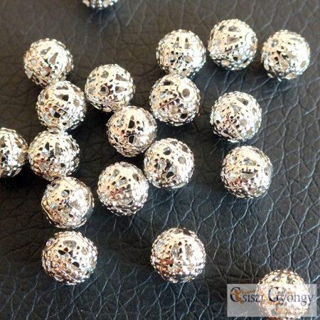 Filigrán fém gyöngy - 10 db -  ezüst színű, 6 mm