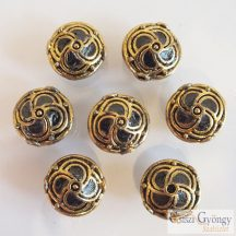 Handmade Indonesia Bead - 1 pc. - alloy, color: gold/black, size: 14.8mm, hole: 1.5 mm