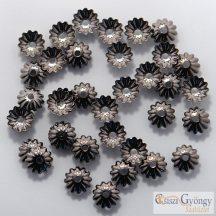 Gyöngykupak - 20 db - metál hematit színű, mérete: 6 mm