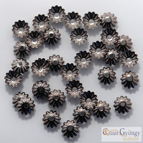 Bead Cup - 20 pc. - color: hematite gray, size: 6mm (Lead and Nickel Free)