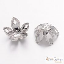 Bead Cap - 1 pc. - silver color, size: 18x8 mm