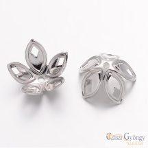 Gyöngykupak - 1 db - ezüst színű, mérete: 18x8 mm