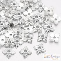 Leveles ezüst színű - 20 db - gyöngykupak, méret: 6x6x2 mm