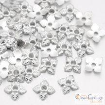 Leveles ezüst színű - 20 db - gyööngykupak, méret: 6x6x2 mm