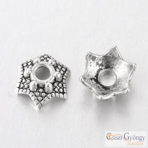 Gyöngykupak - 20 db - antik ezüst színű, mérete: 7x3 mm