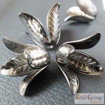 Virág - 1 db - sötét ezüst színű gyöngy, mérete: 17x22 mm