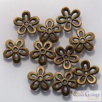 Virág alakú gyöngykupak - 1 db - réz színű, mérete: 11 mm