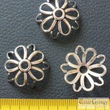 Nagy gyöngykupak - 1 db - antik ezüst színű, mérete: 25 mm