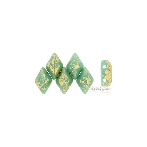 Gold Splash Op. Turquoise - 5 g - Gemduo gyöngy 8x5 mm