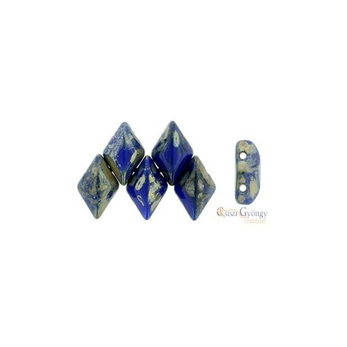 Opaque Blue Silver Picasso - 5 g - Gemduo gyöngy 8x5 mm