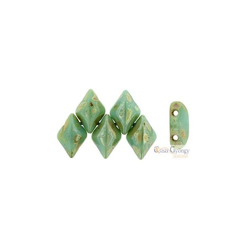 Green Turquoise Picasso Silver - 5 g - Gemduo gyöngy 8x5mm