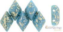 Silver Splash Blue Turquoise - 5 g - Gemduo gyöngy 8x5 mm