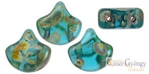 Aquamarine Picasso - 10 db - Ginkgo Leaf gyöngy 7.5x7.5mm (T60020)