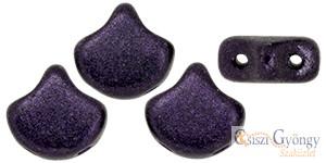 Metallic Suede Dark Purple - 10 db - Ginkgo Leaf gyöngy 7.5x7.5
