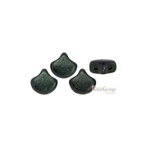 Metallic Suede Dark Green - 10 db - Ginkgo Leaf gyöngy 7.5x7.5 mm