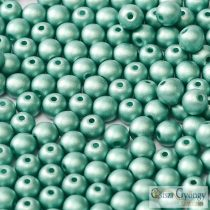 Matte Met. Turquoise Green - 50 Stück - 3 mm Runde Perlen (29455)