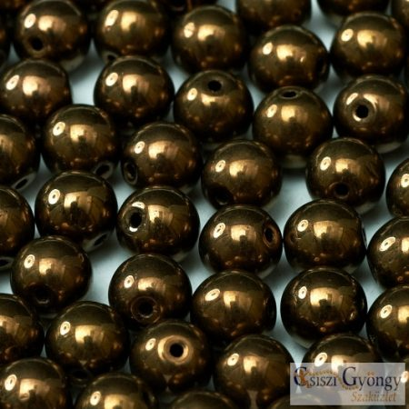 Bronze - 50 db - 3 mm üveg, golyó gyöngy