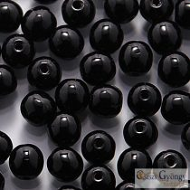 Opaque Black - 50 pc. - round beads, 3 mm