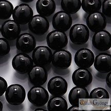 Opaque Black - 50 db - golyó gyöngy, 3 mm
