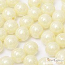 Luster Cream - 40 db - 4 mm cseh, üveg golyó gyöngy (14401)