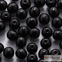 Opaque Black - 40 Stk. - Runde Perlen 4 mm