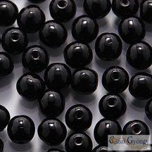 Opaque Black - 40 db - golyó gyöngy 4 mm (23980)