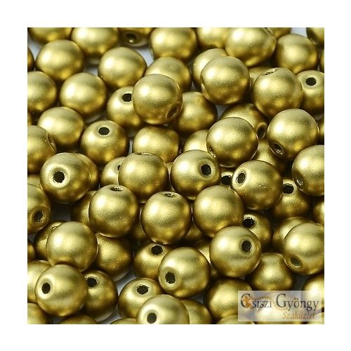 Matte Met. Olivine - 40 db - 4 mm golyó gyöngy (29418)