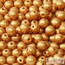 Matte Metallic Gold - 20 db - 6 mm golyó gyöngy (29421)