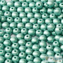 Matte Met. Turquoise Green - 20 db - 6 mm cseh, üveg golyó gyöngy (29455)