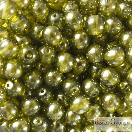 Transparent Pearl Olive - 20 db - 6 mm golyó gyöngy (63555CR)