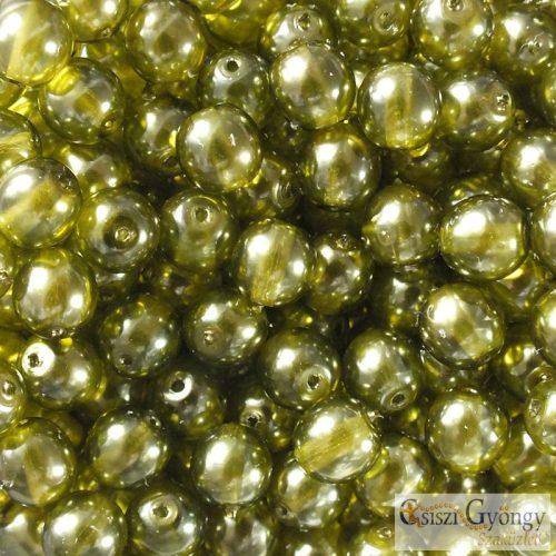 Transparent Pearl Olive - 20 db - 6 mm golyó gyöngy (63555CR)