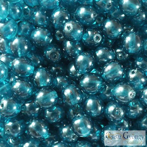 Transparent Pearl Teal - 20 db - 6 mm golyó gyöngy (63346CR)