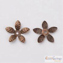 Gyöngykupak, bronz színű levél - 20 db - mérete: 15 mm, nikkel mentes