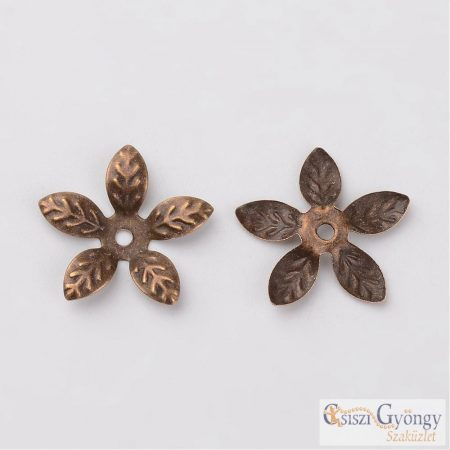 Flower Bead Caps  - 1 Stück - Antique Bronze Color, size: 15 mm