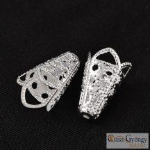 Gyöngykupak - 2 db - ezüst színű, 16x10 mm