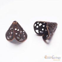 Gyöngykupak - 2 db - bronze színű, 17x11 mm