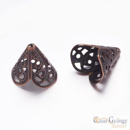 Bead Caps - 1 Stück - Antique Bronze color, size: 17x11 mm